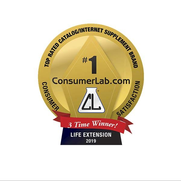 Life Extension 3 Time Winner Badge Consumer Lab Awards 2019