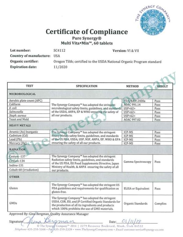 Pure Synergy Multi Vita Min Certificate of Compliance from Oregon Tilth
